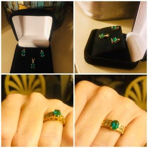 Jewelry - Emerald Diamond Ring, Pendant, and Earrings Set!